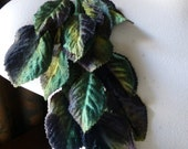 Green Velvet Leaves in Green & Brown Ombre for Bridal, Boutonierres, Headbands, Sashes, Millinery, Costume Design, Crafts ML 49