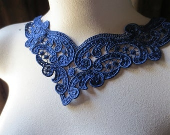 Lace Applique in Royal Blue Venise Lace for Jewelry Supply, Garments, Sewing CA 196