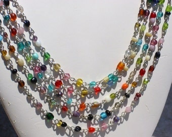 Bollywood Inspired Multi Color Silver Bib Necklace