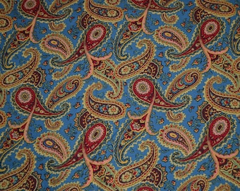 One Yard It's All in the Paisley on Blue Fabric