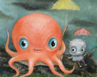 Cute Octopus Print, Big Eye Art, Cute Monster Art, Matted Art Print, Creepy Cute Nursery Art, Lowbrow Art, Pop Surrealism, Friendship art