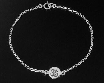 Om Disc Bracelet in Sterling Silver