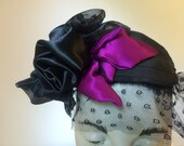 Headpiece with Veil and Black Roses, Fascinator Black and Magenta silk