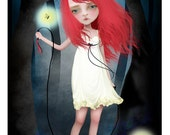 "ACEO ATC Artists Trading Card - ""Firefly"" - Little Girl Sad Eyed Child - Mini Giclee Fine Art Print 2.5x3.5"""