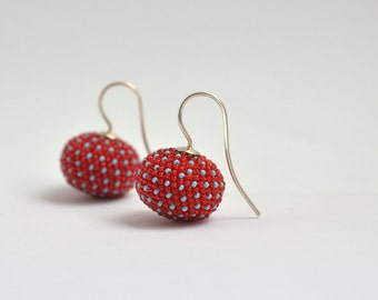 Earrings red , dangle earrings with  turquoise dots and silver hooks, donauluft beadwork original