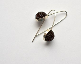 modern  style silver earrings black beaded halfssphere