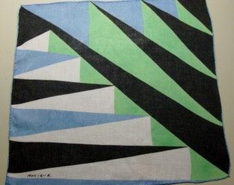 Designer Monique Handkerchief with Blue and Green Geometric Design