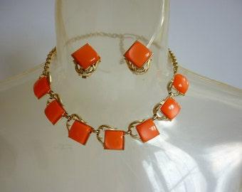Moon Glow Lucite Necklace & Earring Set Orange Sherbert Thermoset