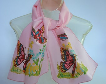 1960s Pink Scarf w Butterflies Oblong hand painted