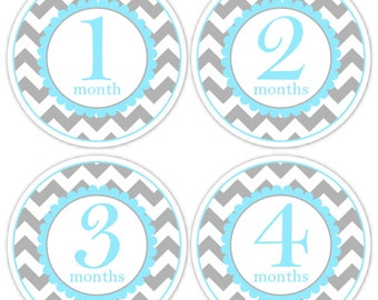 Baby Month to Month Stickers, Monthly Birthday Stickers for Baby, Chevron Photo Prop Birthday Stickers, Chevron and Blue