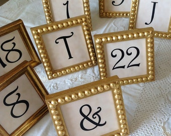 15 Square 3x3 Inch Framed Table Numbers in Gold Boules or Gold Style Mix for Wedding Decor Anniversary Engagement and Holiday Events