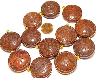 60% OFF -- One (1) Large Hand Carved Jasper Puffy Coin Bead with Flower Design