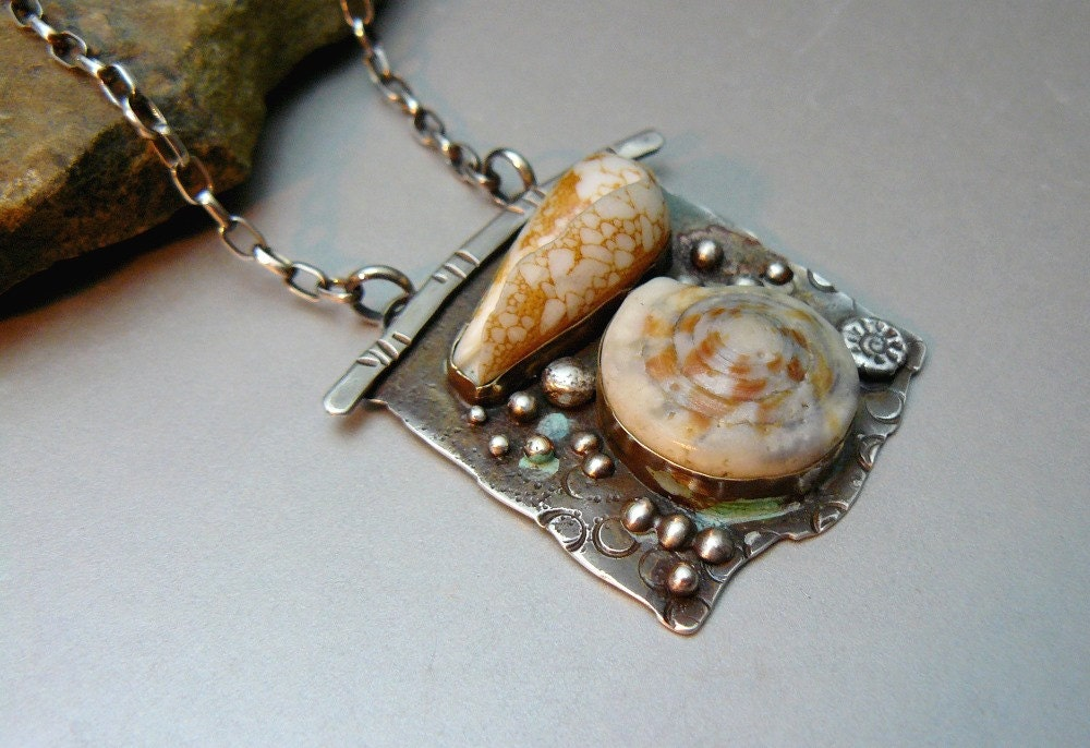 Okinawan Sea Shells Sterling Silver Pendant With Sea Shells