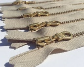 YKK Brass Gold Metal Donut Pull Zippers- (5) Pieces - 010 Khaki - light brown, tan, neutral- Available in 4,5,6,7,9,10,12,14,16 or 18 Inch