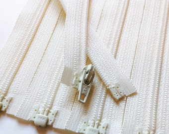 Separating Zippers- Off White Vanilla 121- 5 Pieces 3mm Nylon Coil YKK - Available in sizes 6,7 and 10 Inch