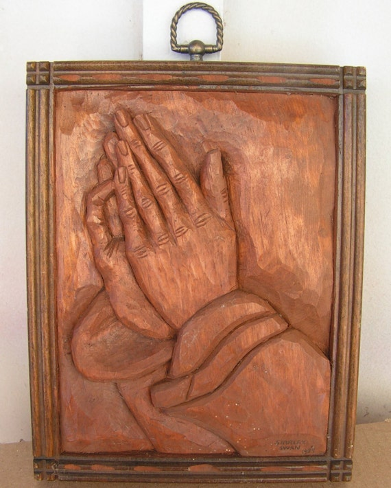 Vintage praying hands wall art religious folk hand