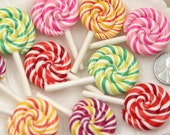 27mm Multi Color Swirl Lollipop Flatback Clay or Resin Cabochons - 5 pc set