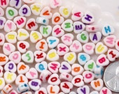 Letter Beads - 7mm Little Colorful Heart Shaped Alphabet Acrylic or Resin Beads - 300 pc set