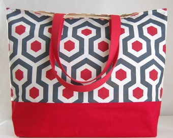 Red Magna XL Extra Large BIG Tote Bag  / Beach Bag - Ready to Ship