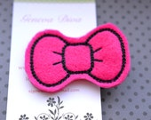 Hot Pink Hello Kitty Bow Embroidered Felt Hairclip