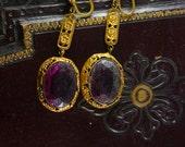 Reserved for deb Antique Signed Czech Purple Earrings long chandelier screw on huge stones