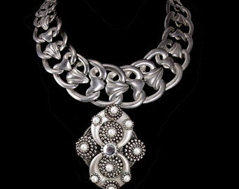 Statement necklace Art Nouveau Collar WIDE silver floral links pearl rhinestone dramatic drop pendant