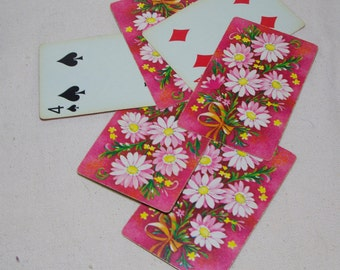 Pink Vintage Playing Cards Floral - Set of 10
