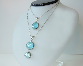 Layered blue glass drop necklaces
