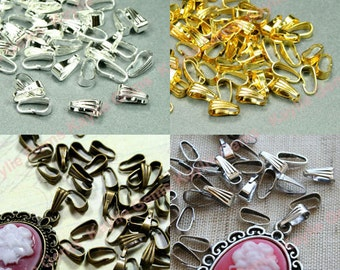 50 Snap On Pendant Bail 9x3.5mm Antique Brass, Antique Silver, Gold, Silver - Pick Finish