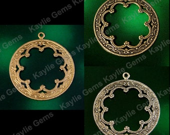 Scalloped Lace Edge Open Medallion 1 Ring Round Frame Pendant Port Hole Filigree Stamping 36mm Raw, OX Antique Brass, OX Silver F383R- 2pcs