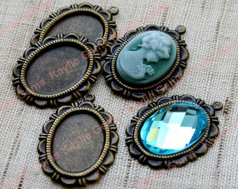 Antique Brass Setting Base 13x18mm Cameo Cabochon Cab Flat Back Pendant or Charms Glue On- 6pcs