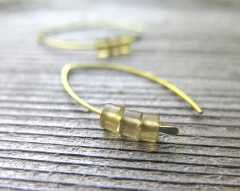 yellow gold earrings in niobium. ametrine jewelry. Canadian seller.