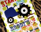 DIY Start Your Tractor and Put it in Gear Birthday Invitation