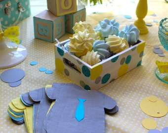 """Any quantity Baby shower or 1st birthday """"shirt"""" or """"bib"""" napkins or banner decoration with any color neck ties and any color napkin."""