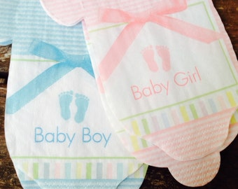 Baby shirt paper napkins and banner CLEARANCE. Little feet and bows pattern. Choose pink, blue, or both.