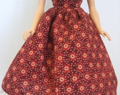 """Ready To Ship Brown and Rust 11.5"""" Fashion Doll Dress - 11-1/2"""" Fashion Doll Clothes - Modest 11.5"""" Fashion Doll Dresss"""