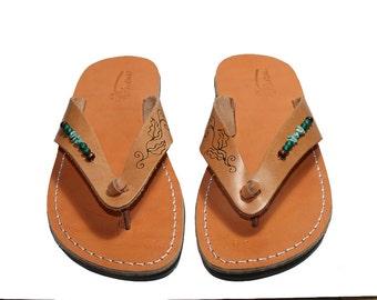 Caramel Decor Surf Leather Sandals For Men & Women - Handmade Sandals, Leather Flats, Leather Flip Flops, Natural Unisex Leather Sandals
