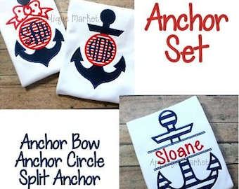 Machine Embroidery Design Applique Anchor Set INSTANT DOWNLOAD