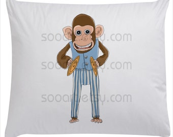 Monkey with cymbals toys painting-Original Illustrate Drawing  A4 Transfer Print Pillows, t-shirts, scrapbook, lampshades
