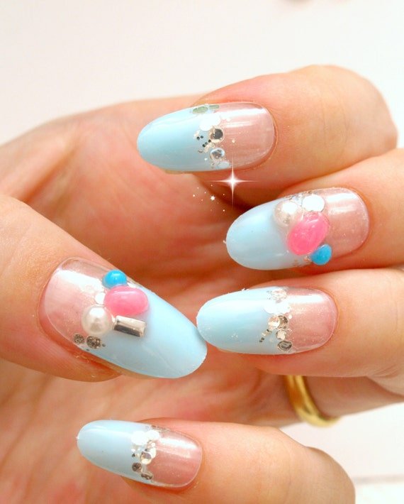 Aqua Nail Art: Summer Nail Art Pastel Nail Blue Nails Japanese Fashion By