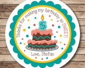 Number Candle Birthday Cake . Personalized Birthday Stickers or Tags