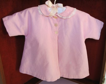 Pink Doll Coat Vintage Large  Clothes Corduroy White Lined Baby Display Nursery Shower Decor with Hanger FREE SHIPPING