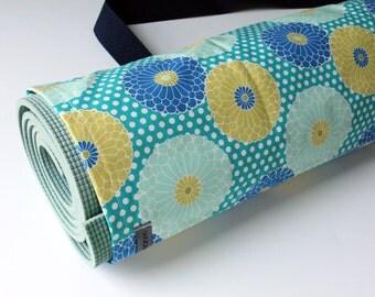 Yoga Mat Bag, Yoga Mat Carrier, Yoga Mat Sack, Gift for Yogi, Aqua Lime Polka Dots Mums