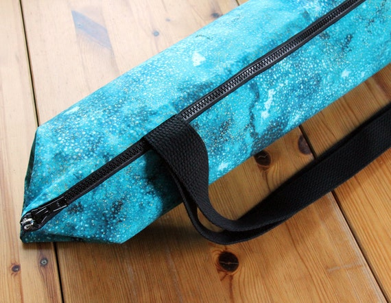 Zippered Yoga Bag, Pilates Bag, Mens Yoga Bag,  Teal and Gold Dust With POCKET - READY to SHIP