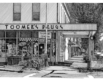 Reproduction Print of Pen and Ink Drawing of Toomer's Drugs Auburn Alabama