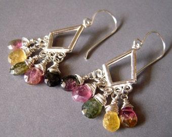 Tourmaline Sterling Earrings, Chandelier Sterling Earrings, Wire Wrapped Sterling Earrings, Teardrop Earrings