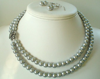 Two Strand Silver Pearl with Rhinestone Flower Pendant Beaded Necklace and Earring Set    Great Brides or Bridesmaid Gifts