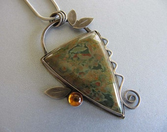 Necklace of Rain Forest Jasper, Amber, and Leaves in Sterling Silver
