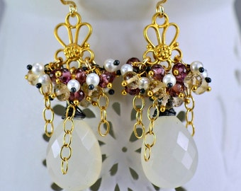 White Chalcedony Champagne Topaz Pearl Chandelier Earrings Multi Gemstone Cluster Earrings