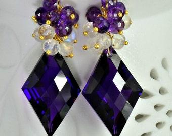 Moonstone Amethyst Wire Wrapped Earrings 14k Gold Fill  Moonstone Amethyst Gemstone Cluster Earrings